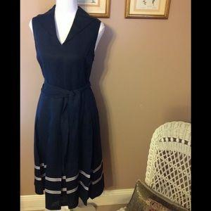 Jones New York navy linen dress